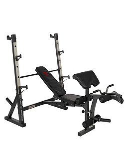 Diamond elite olympic weight bench with squat rac