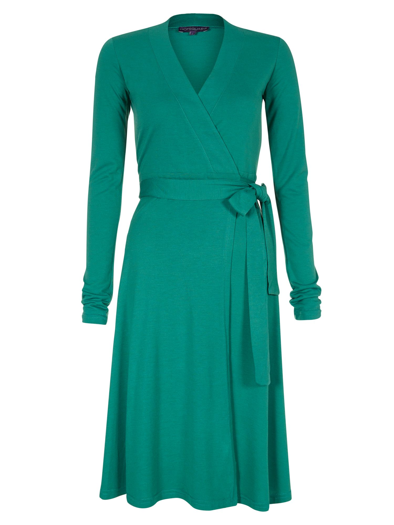 HotSquash Wrap dress in thinheat fabric, Emerald Green