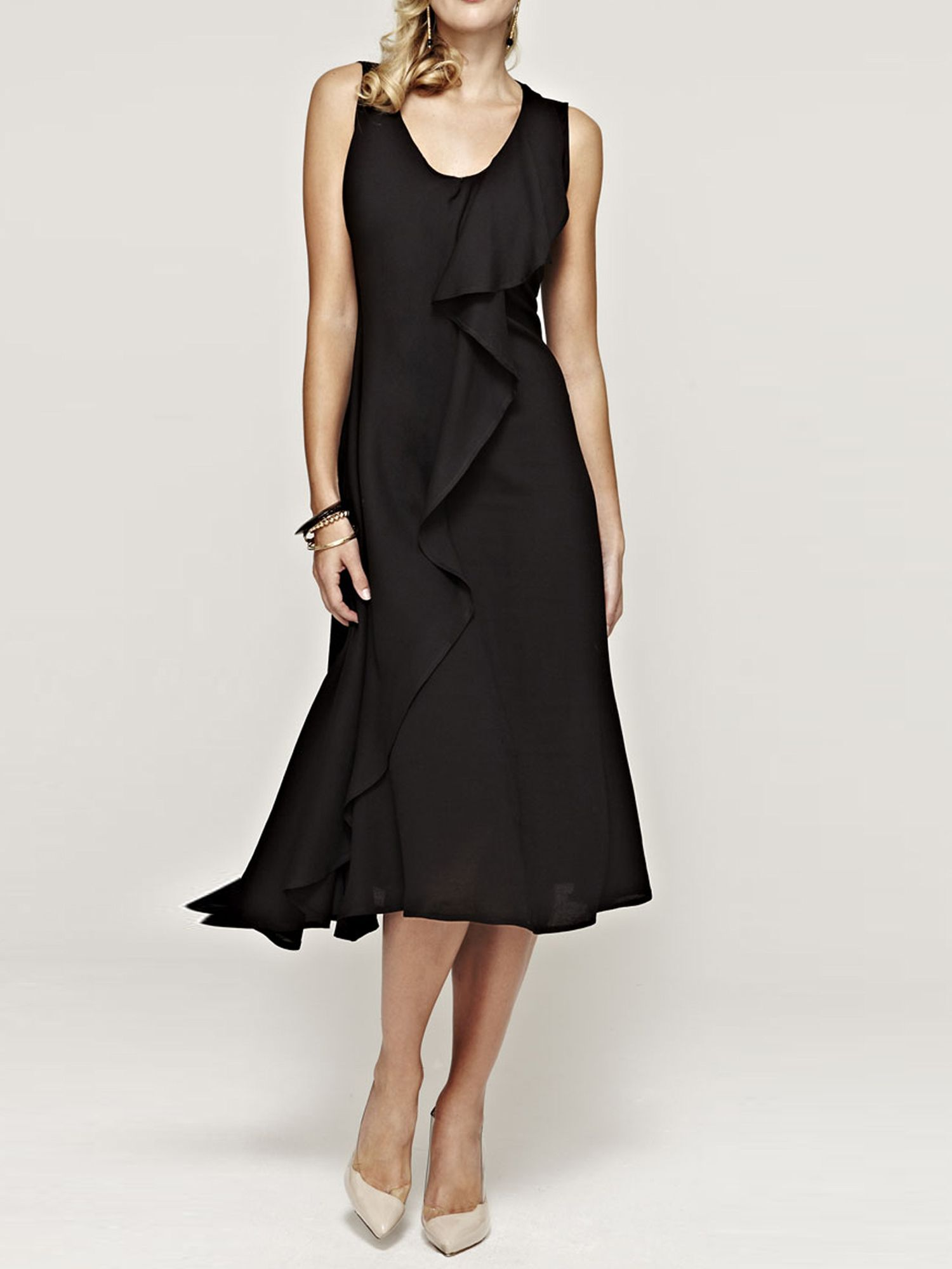 Sleeveless ruffle dress in clever fabric