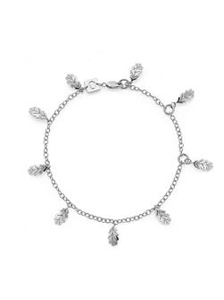 Swept away leaf charm bracelet