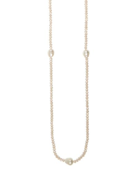 Winser London Long Freshwater Pearl and Crystal Necklace
