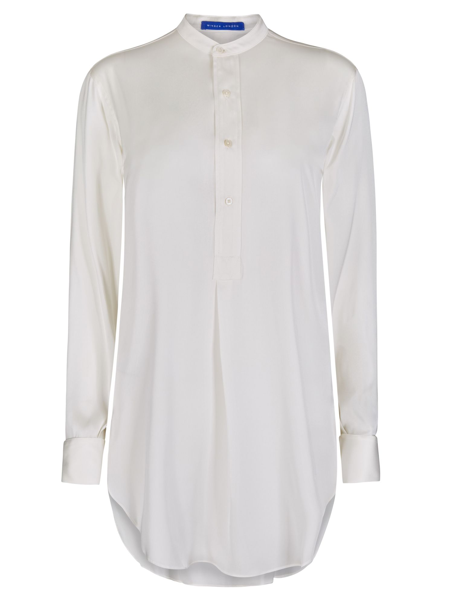 Winser London Long Length Silk Tunic Shirt, White