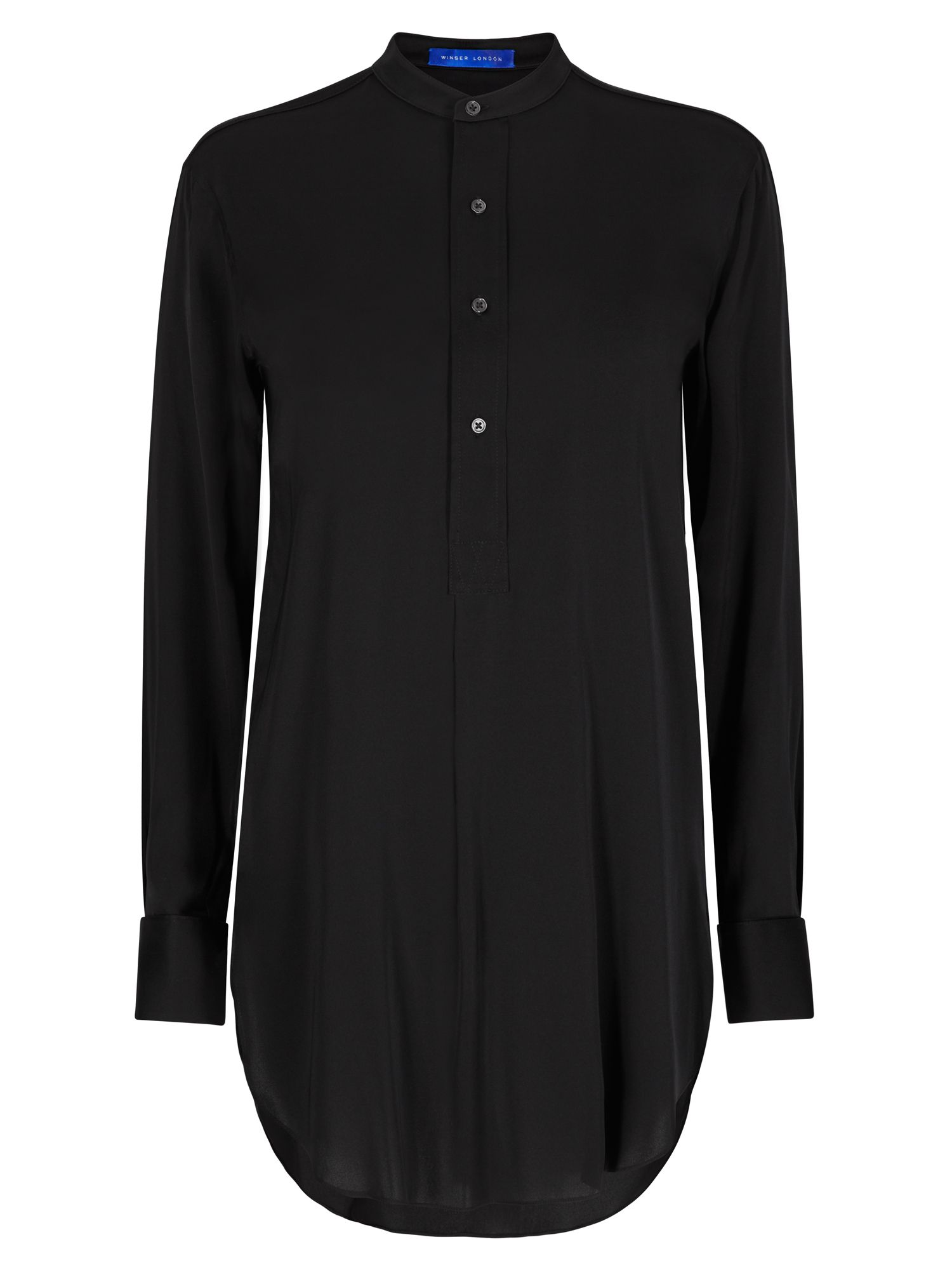 Winser London Long Length Silk Tunic Shirt, Black