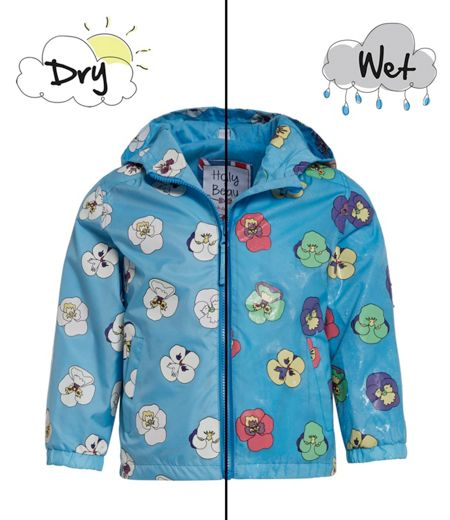 Holly & Beau Girls Pansy Colour Change Rain Coat