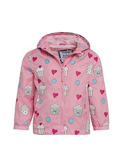 Girls Cupcake Colour Change Rain Coat