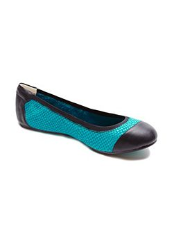 Brixton turquoise leather foldable ballerina