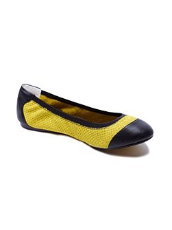 Brixton yellow leather foldable ballerina