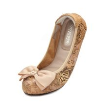 Buckingham leather foldable ballerina