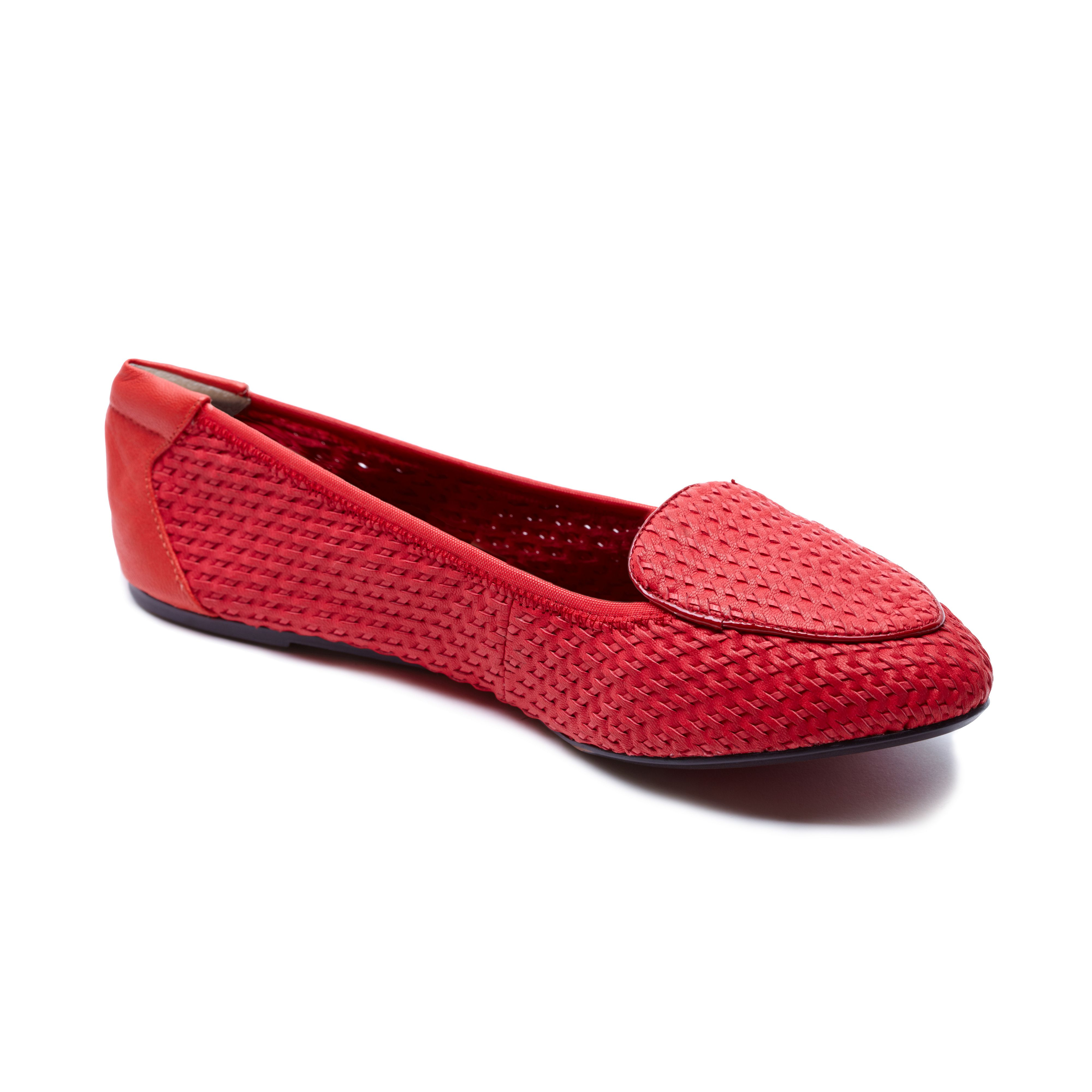 Clapham coral woven leather foldable loafer