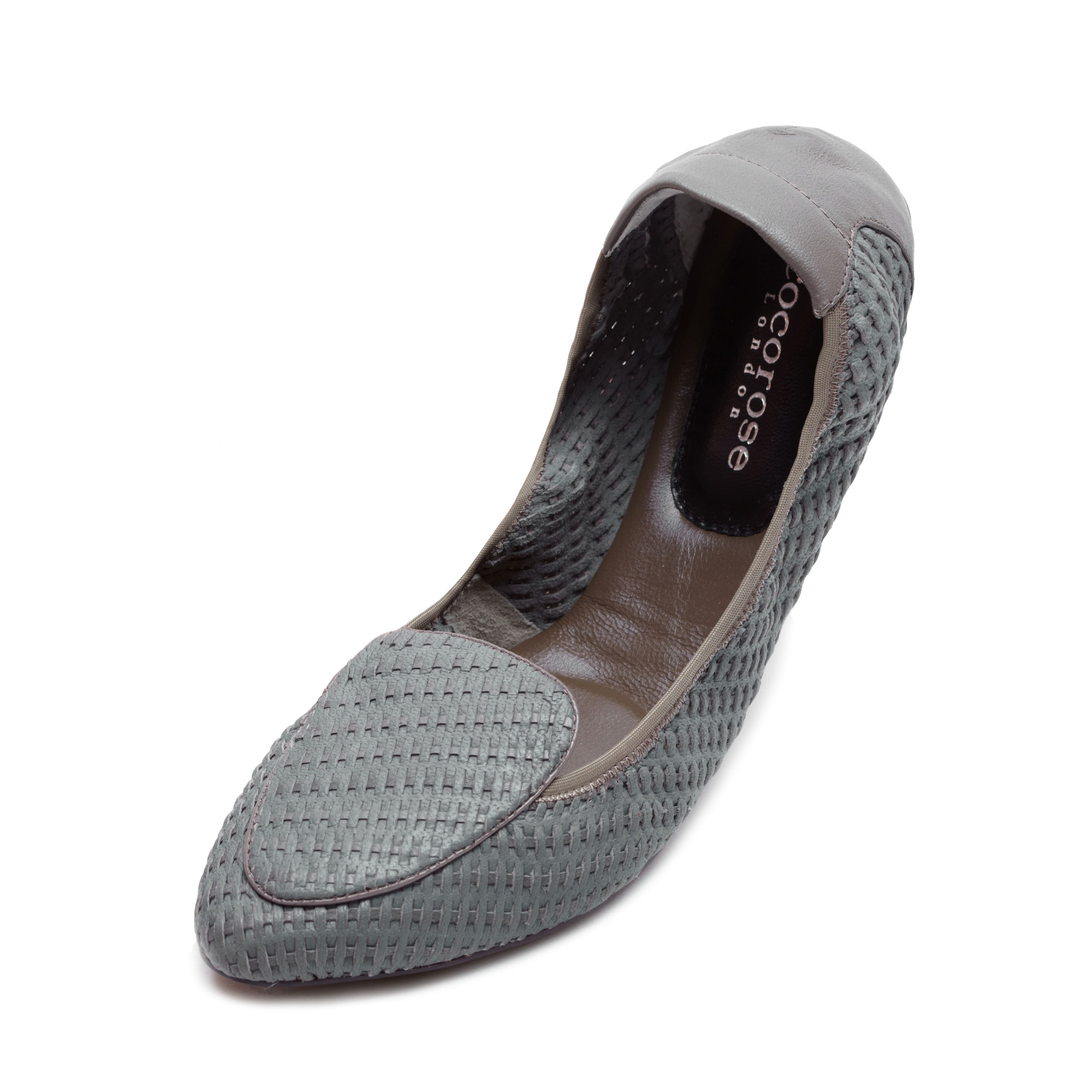 Clapham grey woven leather foldable loafer