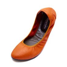Dalston orange leather foldable ballerina