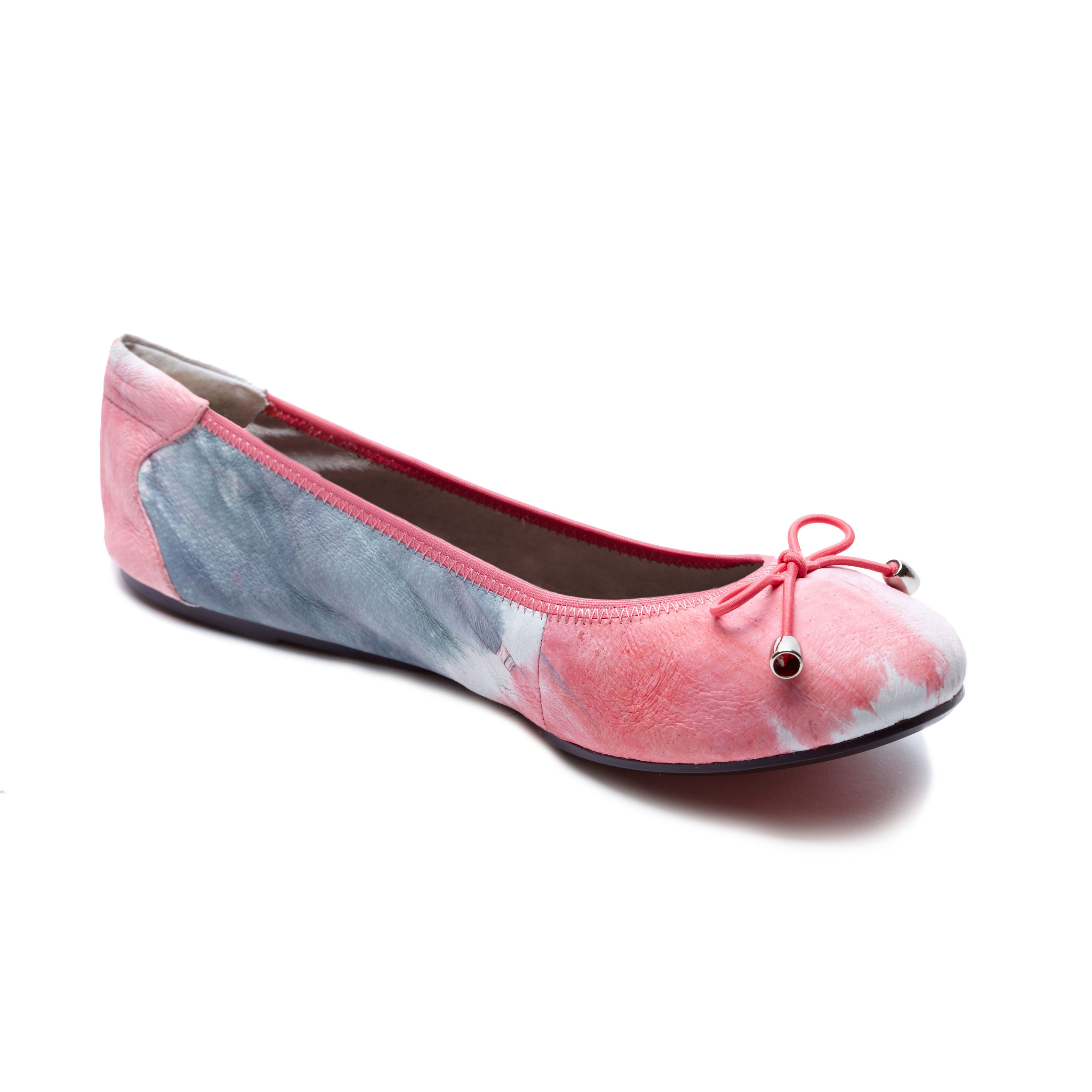 Greenwich dip-dye pink leather foldable ballerina