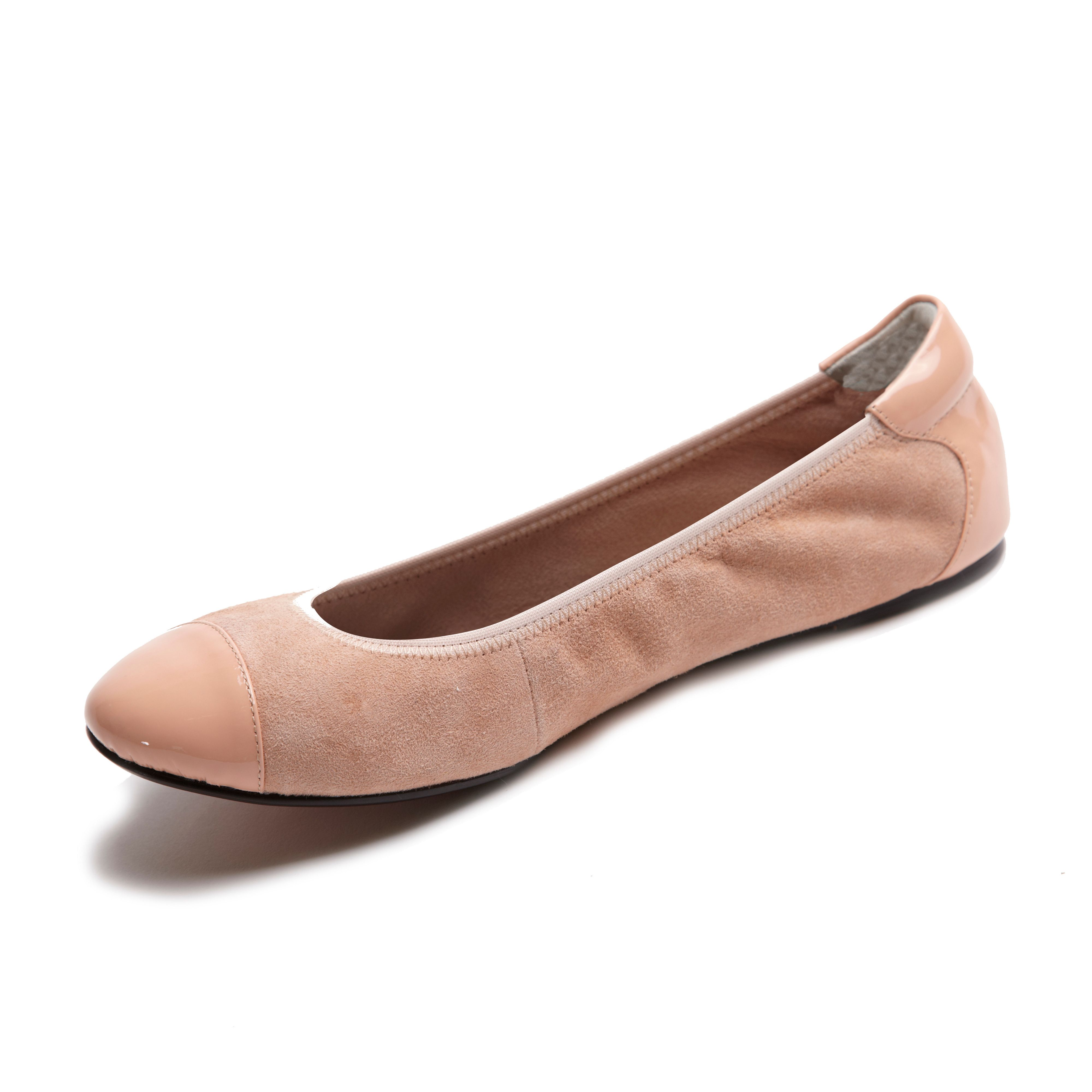 Harrow pink leather foldable ballerina
