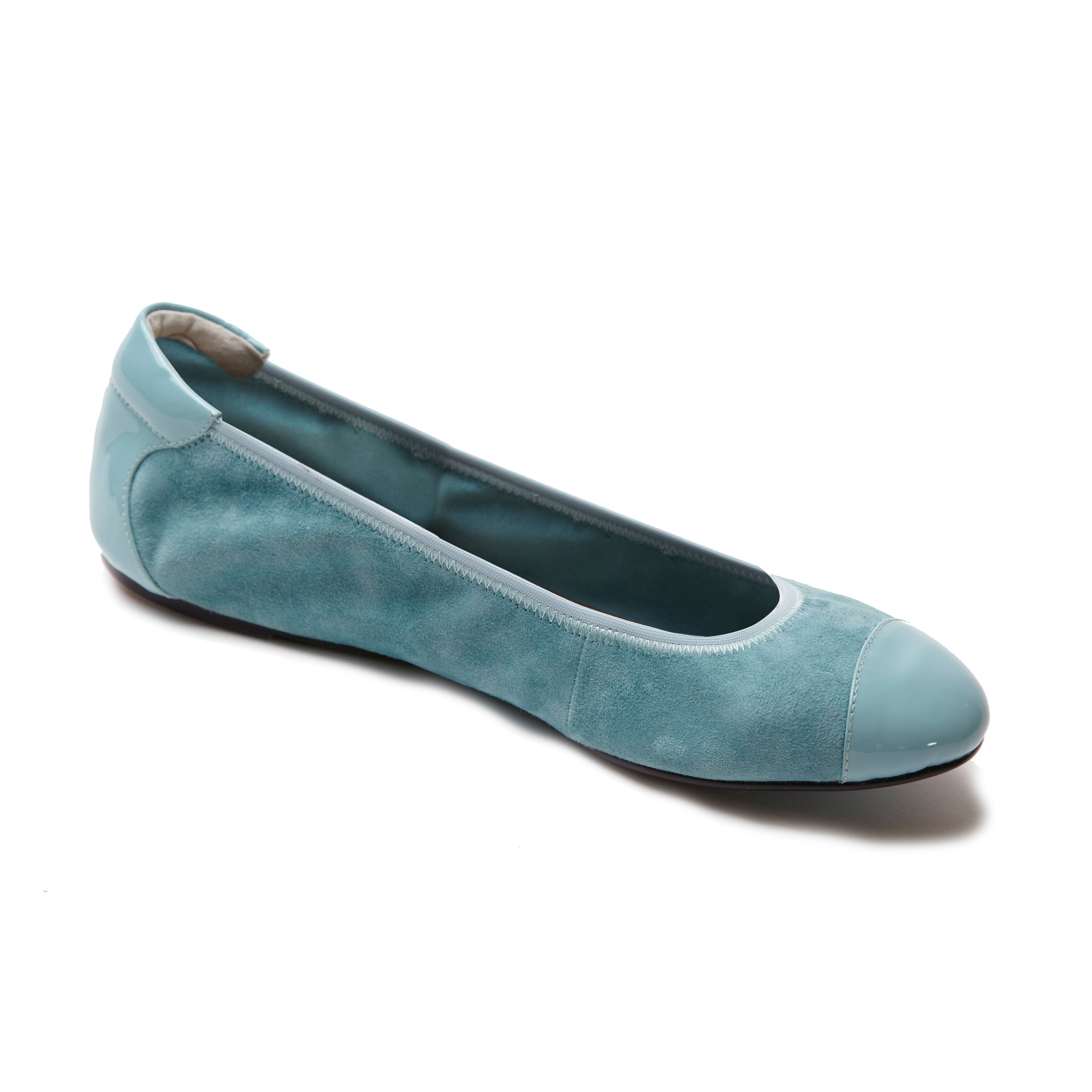 Harrow blue leather foldable ballerina