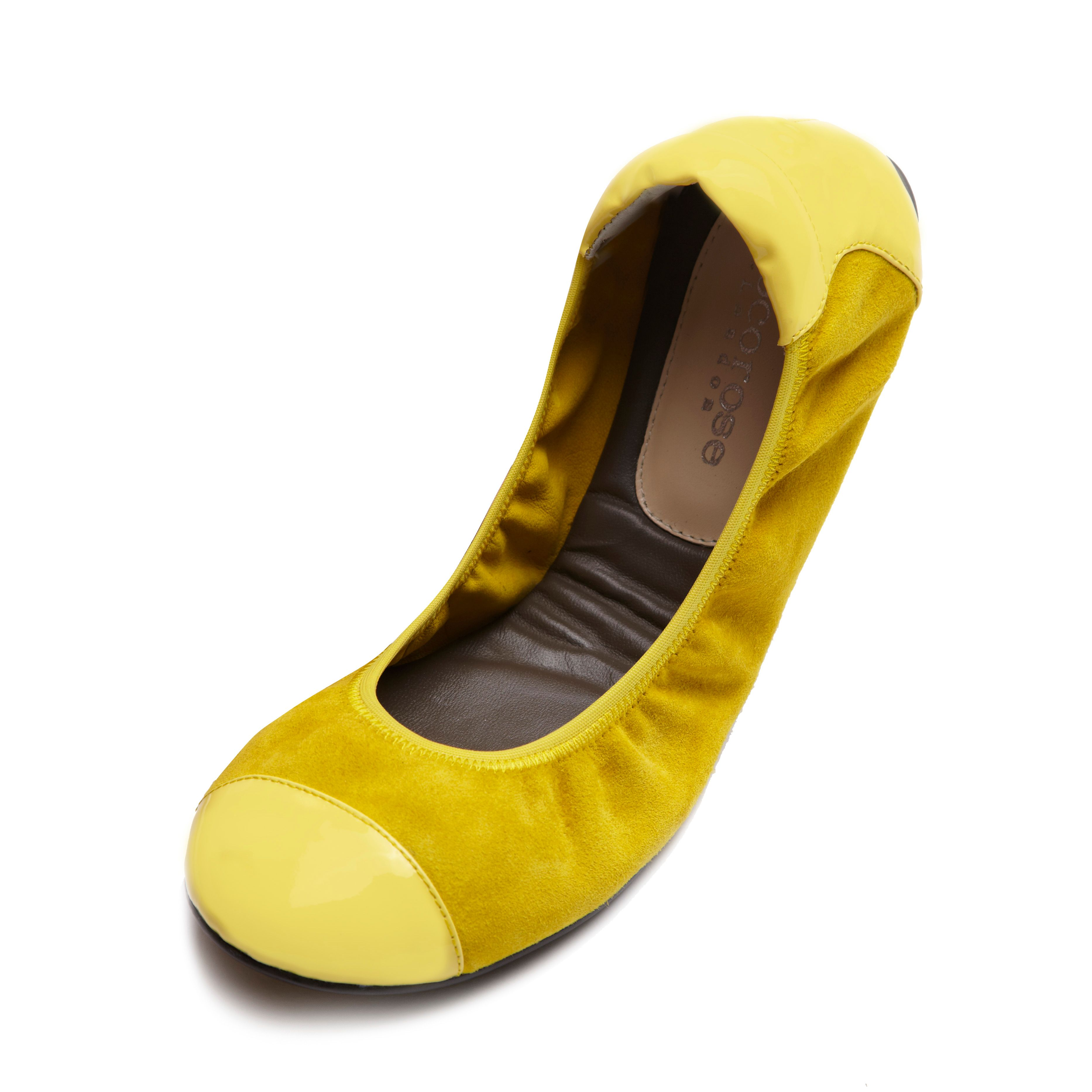 Harrow yellow leather foldable ballerina