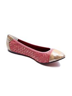 Putney pink and gold leather foldable ballerina