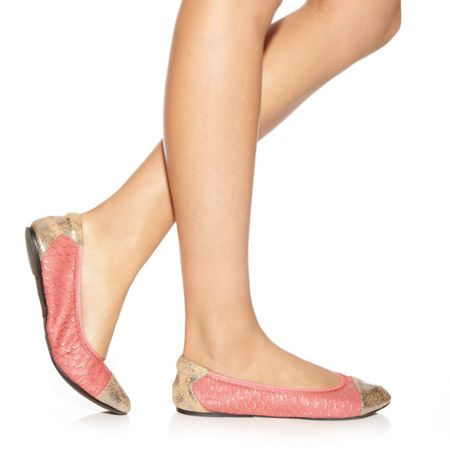 Cocorose London Putney pink and gold leather foldable ballerina