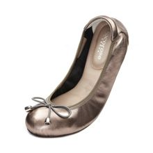 Cocorose London Sandringham silver leather foldable ballerina