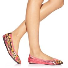 Cocorose London Barbican pink snake print foldable ballerina