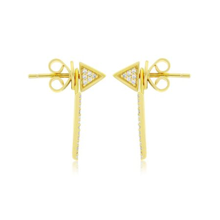 LaBante Gold pyramid jacket earrings