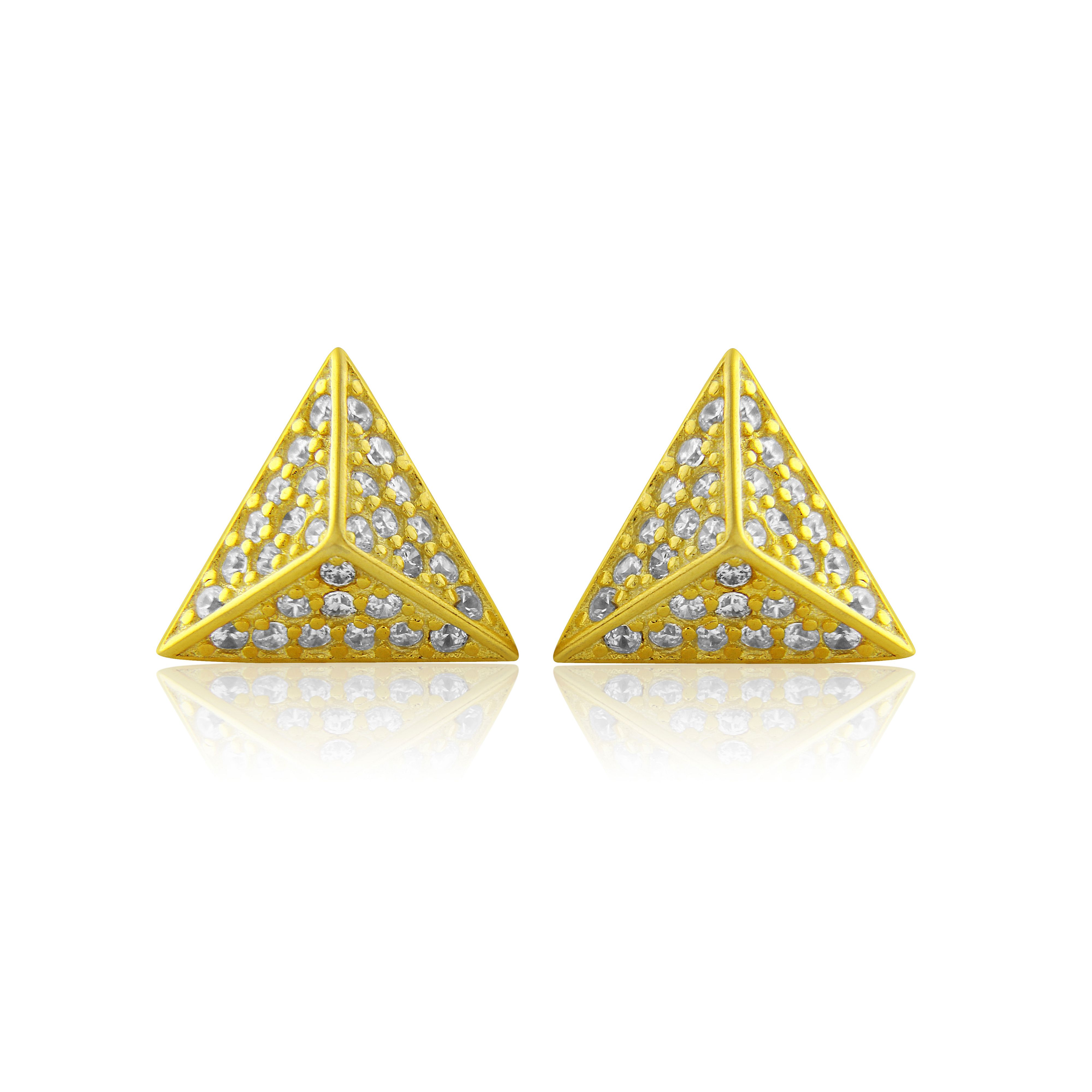 LaBante Gold pyramid stud earrings, Gold