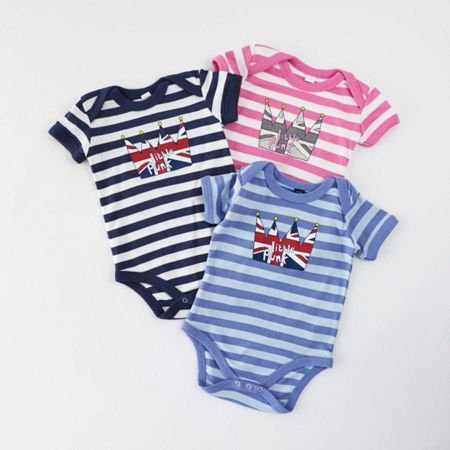 Little Punk Baby cotton striped bodysuit short sleeved