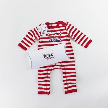 Little Punk Baby cotton striped rompersuit long sleeved