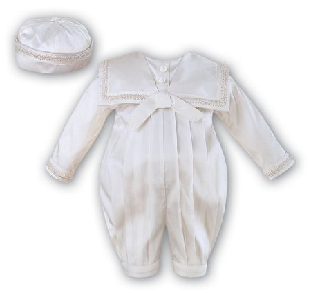 Sarah Louise Babys silk ivory romper with hat