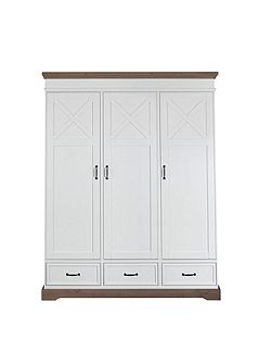 Savona White Wardrobe 3 Door with cross
