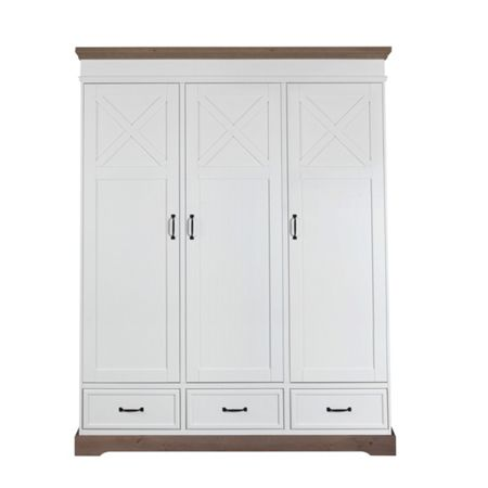 Kidsmill Savona White Wardrobe 3 Door with cross