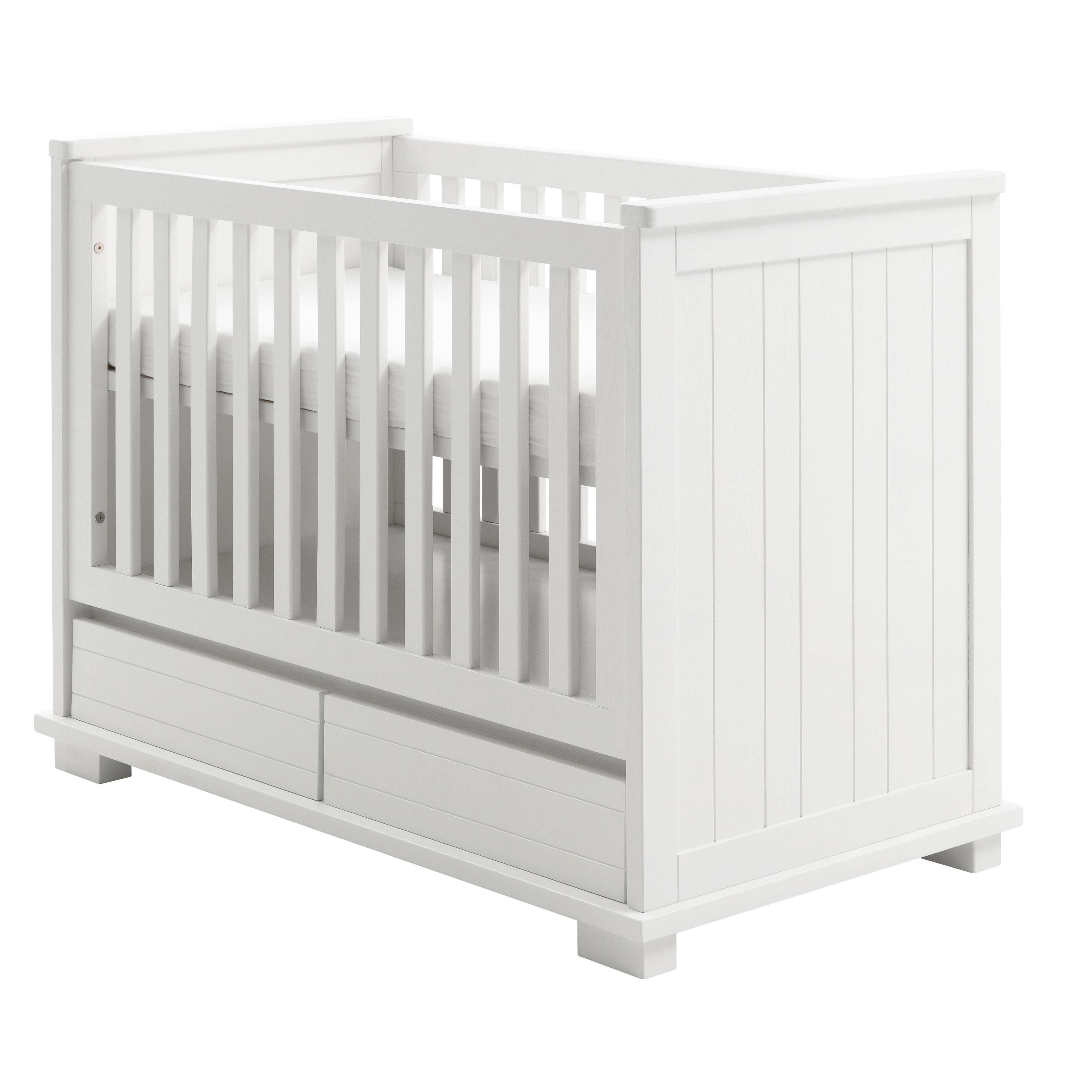 Kidsmill Kidsmill Malmo Pure White Cot 60x120 with Drawers