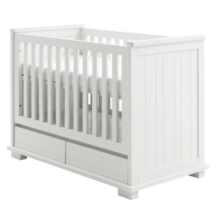 Kidsmill Malmo Pure White Cot 60x120 with Drawers