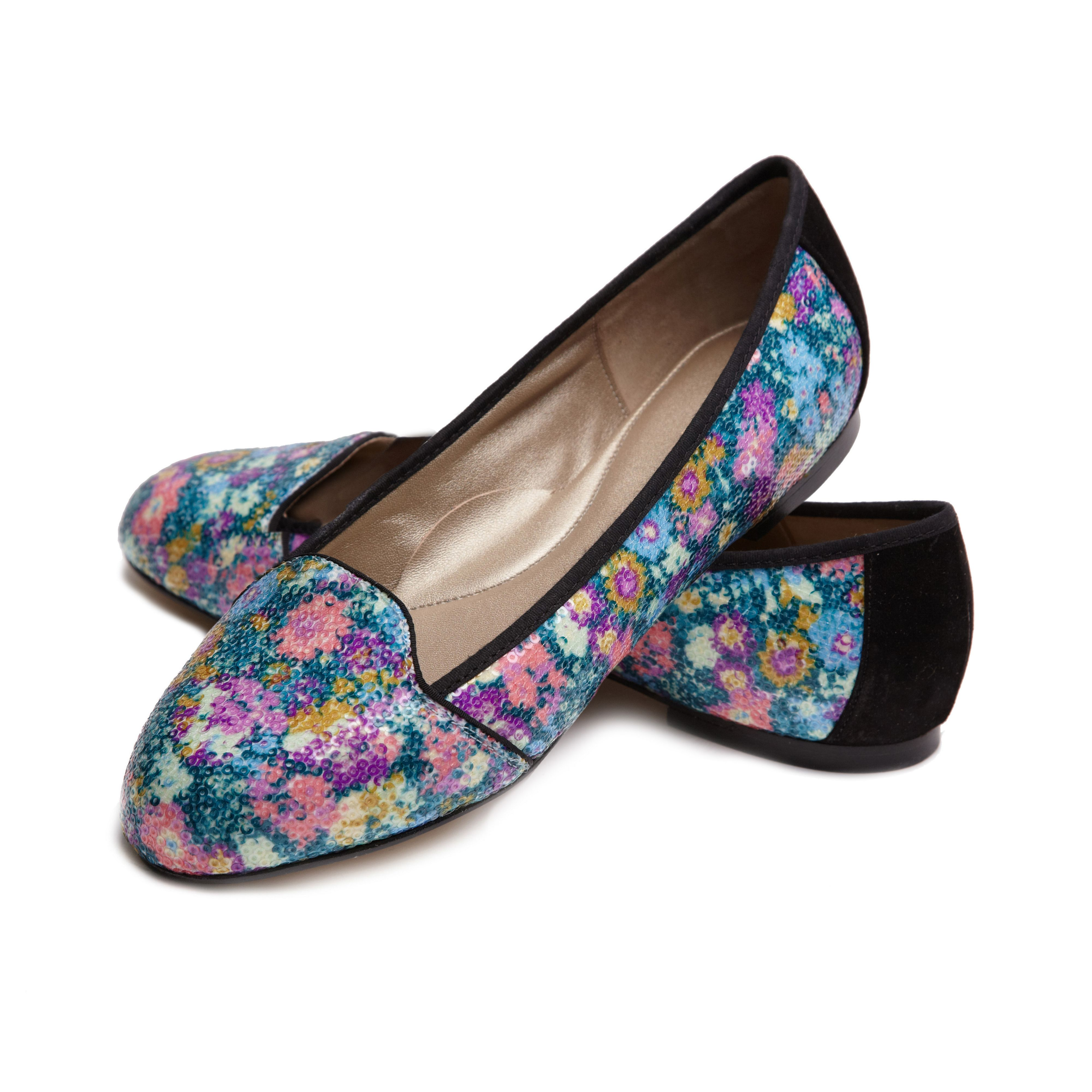 Bond street sequinned liberty art fabric loafer