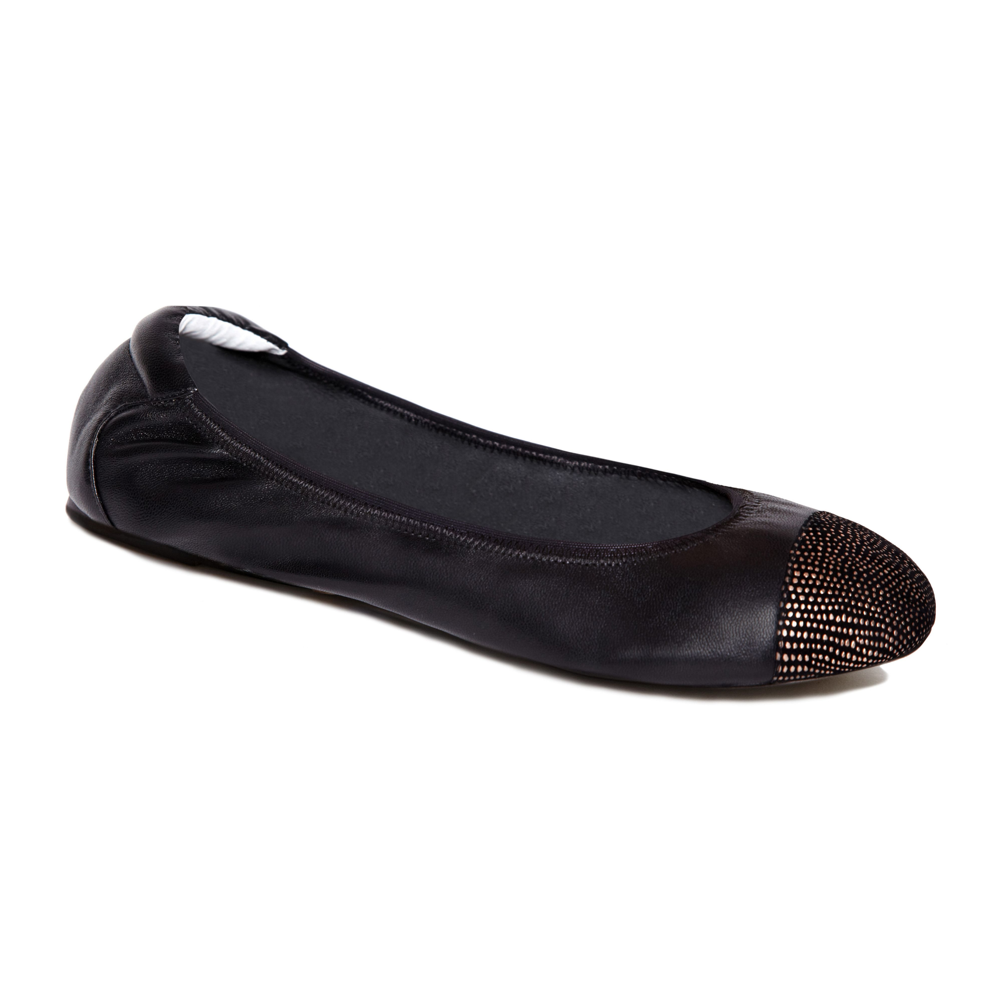 Harrow black and gold leather foldable ballerina