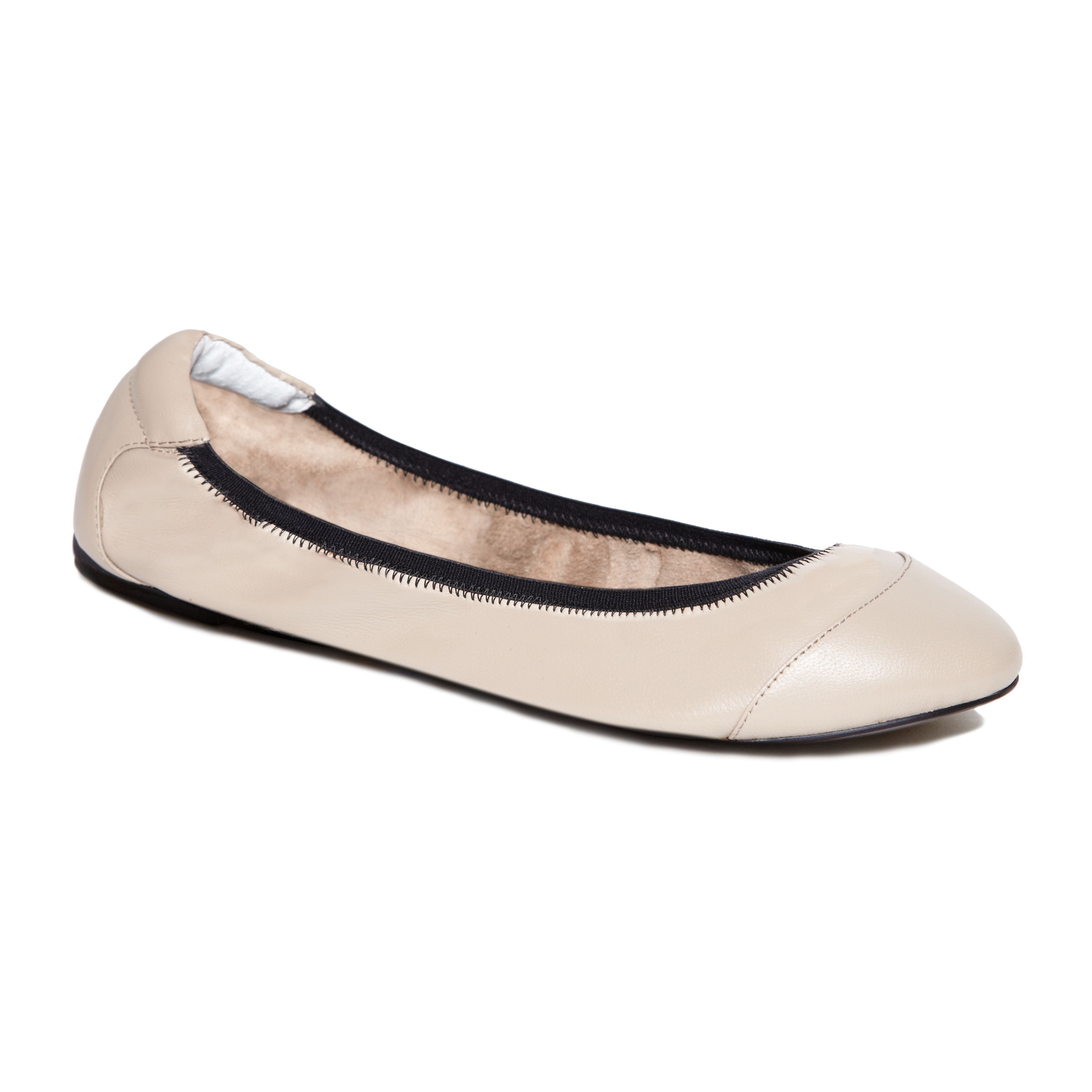 Brixton nude leather foldable ballerina