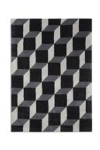 Plantation Rug Co. Geometric 100% Wool Rug - 150x230 Black/Grey Cube