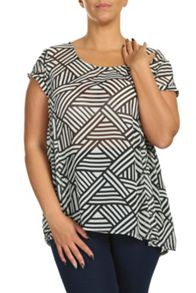 Threads Plus Size Geo Side Peplum Tee