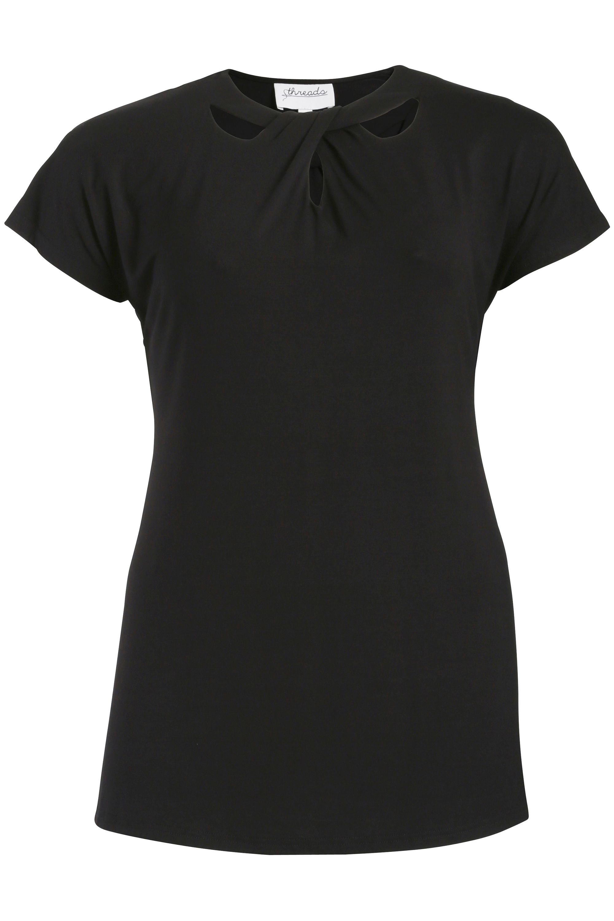 Threads Threads Plus Size Cut Out Tee, Black