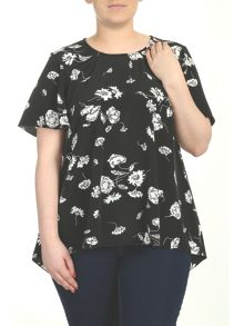 Plus Size Angel Sleeve Dip Hem Top