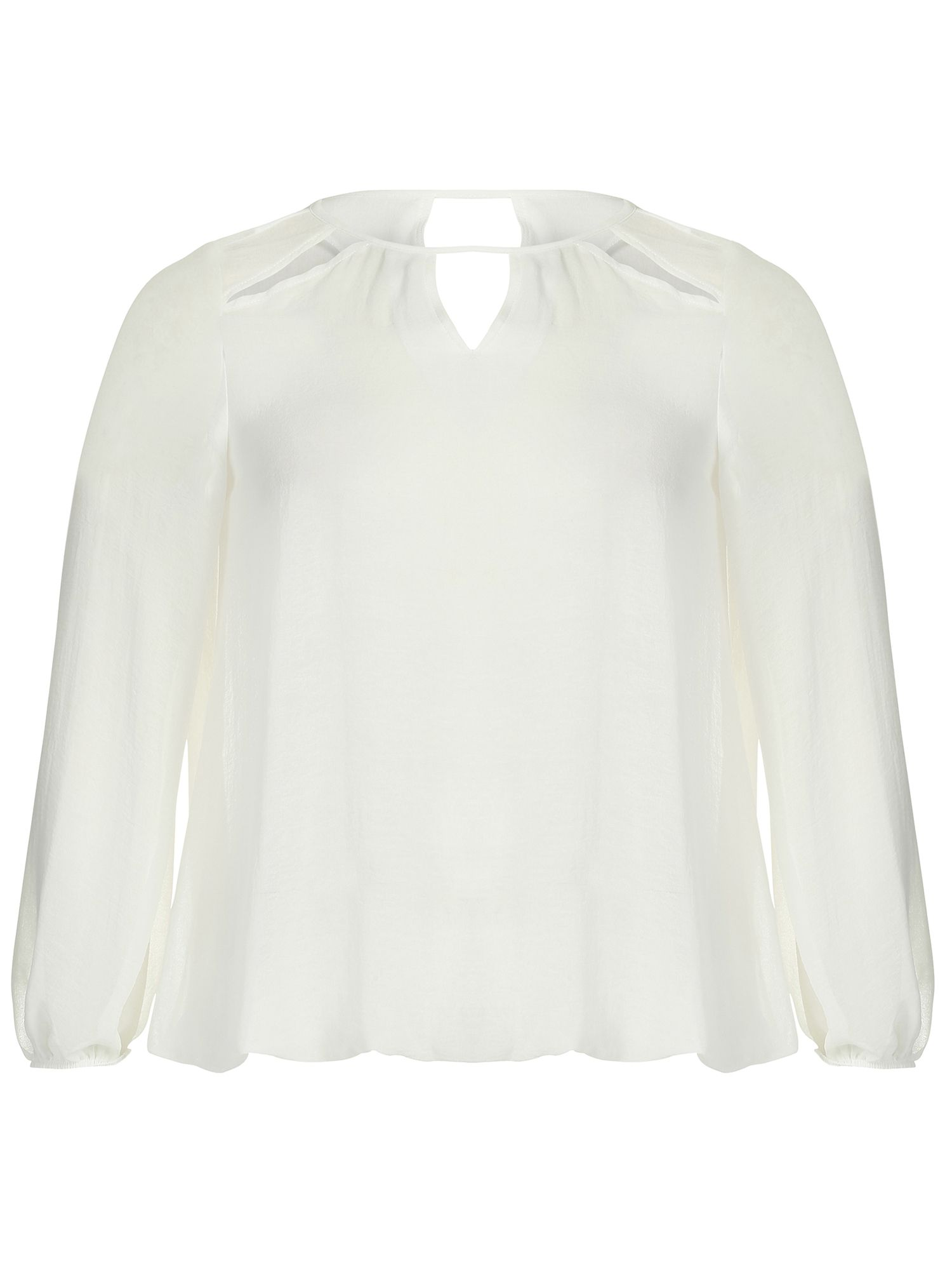 Threads Threads Plus Size Star Cut Out Sheer Blouse, White