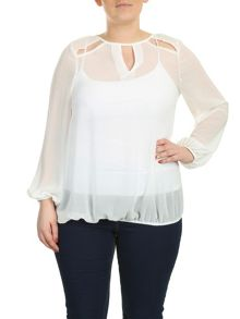 Star Cut Out Sheer Blouse