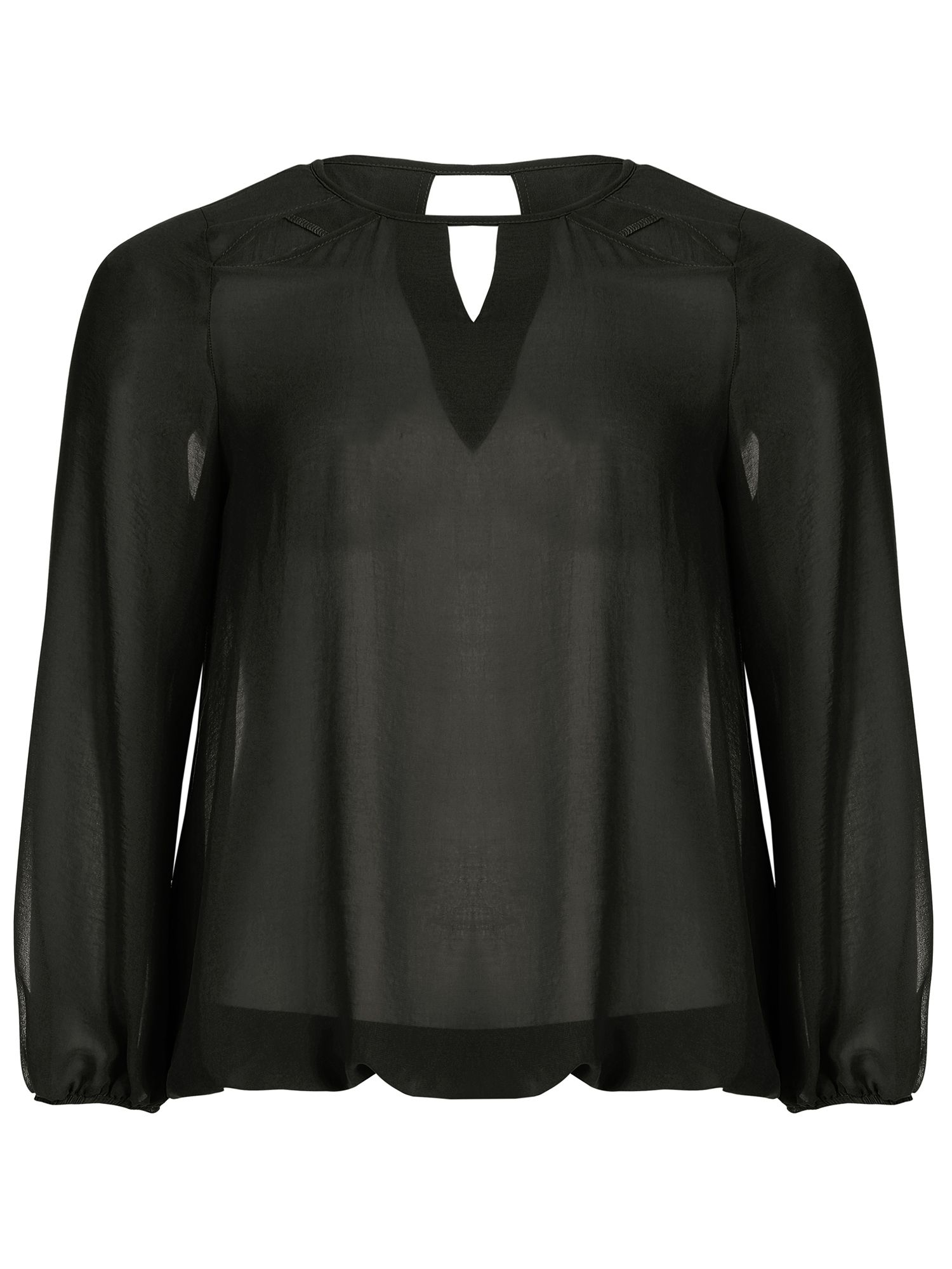 Threads Threads Plus Size Star Cut Out Sheer Blouse, Black