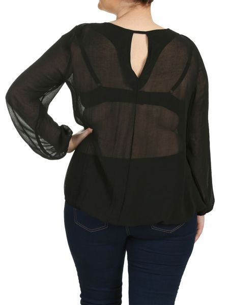 Threads Plus Size Star Cut Out Sheer Blouse