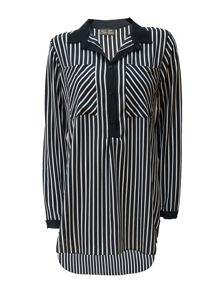 Koo-Ture Crepe Striped Blouse