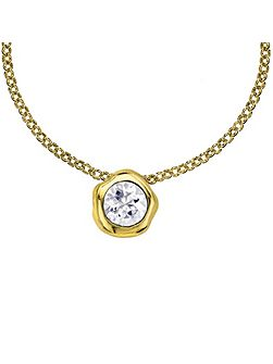 Dewdrop Gold 6mm White Topaz Pendant
