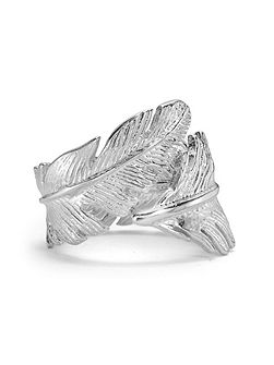 Silver Statement Feather Wrap Ring