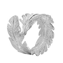 Dower & Hall Silver Statement Feather Wrap Ring