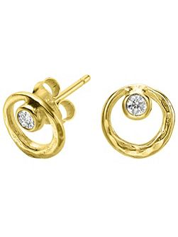 Dewdrop Gold Circle White Topaz Studs