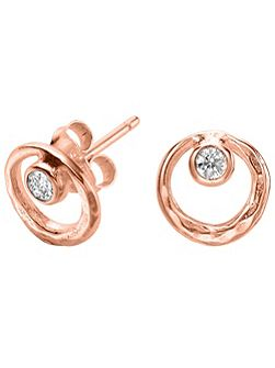 Dewdrop Rose Circle White Topaz Studs