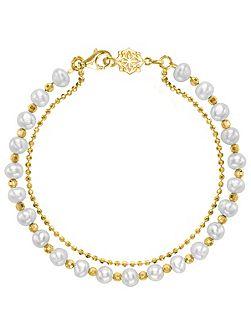 Gold And White Pearl Orissa Bracelet
